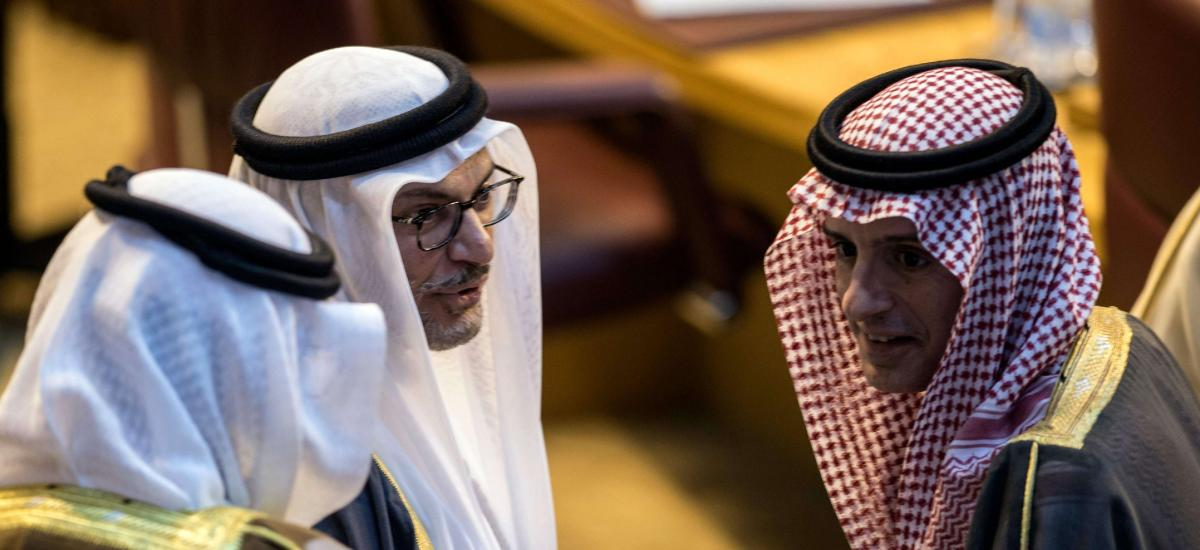 Arab World is distancing itself from its Ottoman Past : Saudi Foreign Minister Adel al-Jubeir (R) with UAE Minister of State for Foreign Affairs Anwar Gargash (C)