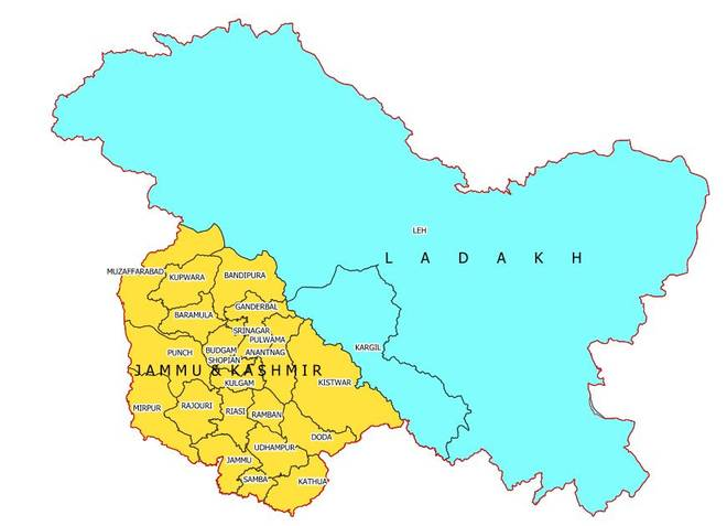 Final New Map of Union Territories of Jammu & Kashmir and Union Territory of Ladakh that includes  Pakistan illegally occupied Gilgit-Baltistan and China illegally occupied Aksai China as part of Union Territory of Ladakh