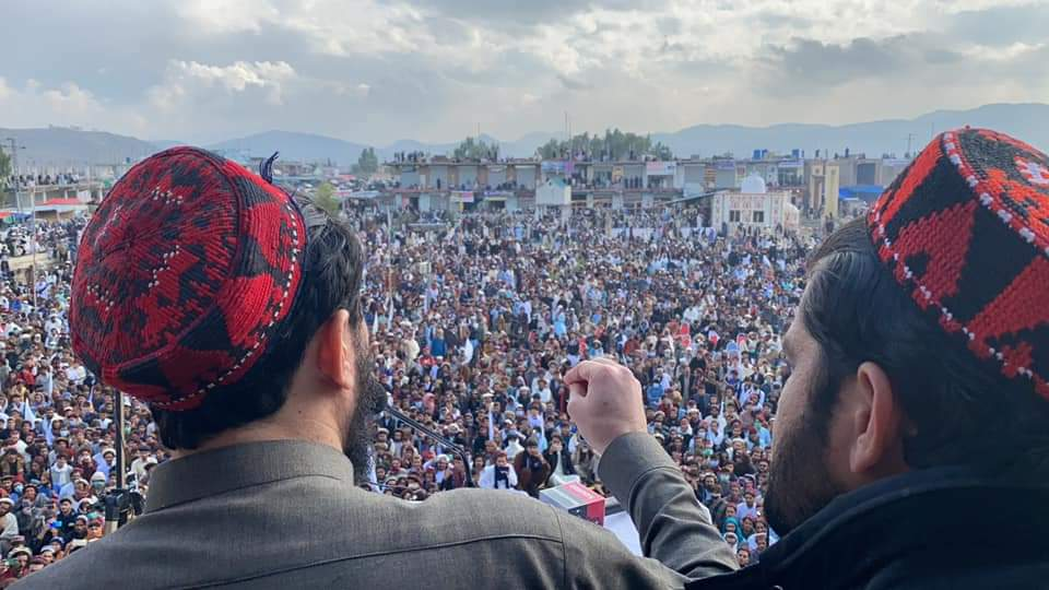 "The Pashtun Tahaffuz Movement (PTM) held a ""massive gathering"" in Miranshah, North Waziristan : Leader Manzoor Pashteen Addressing the gathering."