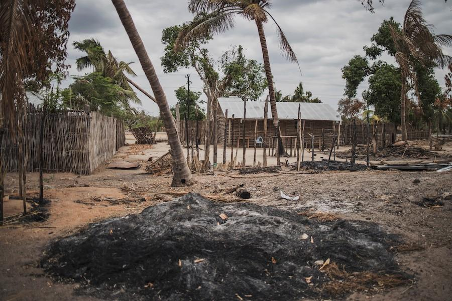 Islamist Terrorists Behead More Than 50 In Mozambique. Houses burnt by in a village in Mozambique