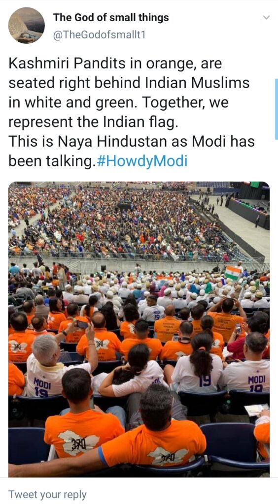 India and US Vow to Fight Radical Islamic Terrorism at Howdy Modi rally: A Tweet from a Twitter user