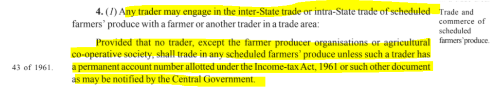 Farmers Bill Demystified Part 1 : Clause 4 seeks to prevent hoarders from buy produce without proper legal means to do so.