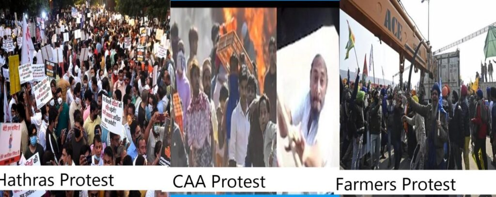 From CAA Violence To Hathras To Farmers Protest : using irrelevant events to target Indian society while creating a sense of unrest in general population