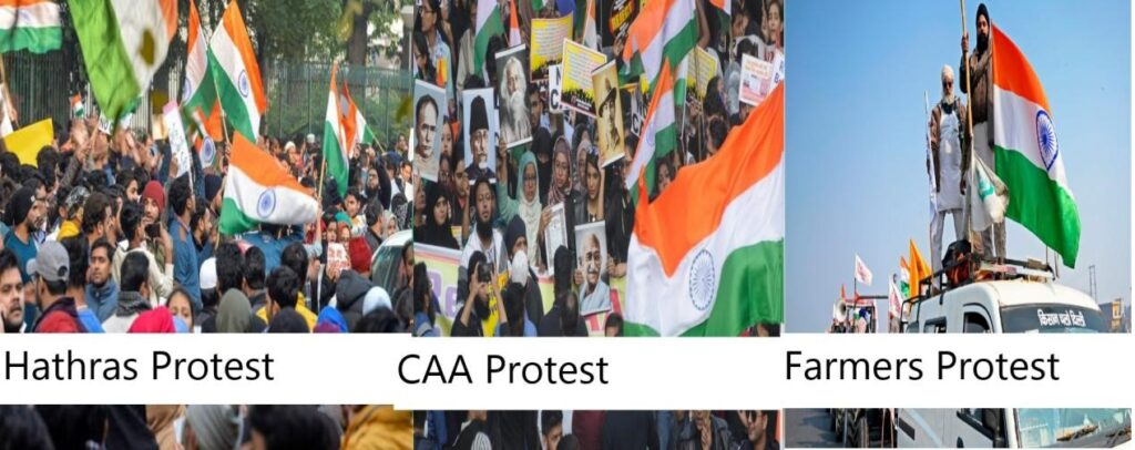 From CAA Violence To Hathras To Farmers Protest : Use of Indian National flag and other symbols of national unity while inciting violence and creating divide in Indian society