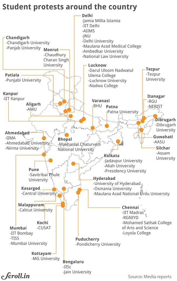Democracies From US to India Under Attack : Network of Universities in India that were ground zero for Anti-CAA riots