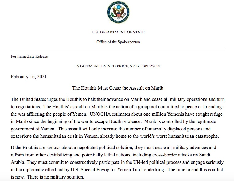 Yemen War - Statement by Ned Price - The Houthis must cease the Assault on Marib