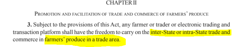 Farmers Bill Demystified Part 1 : Section 3 of the Chapter II