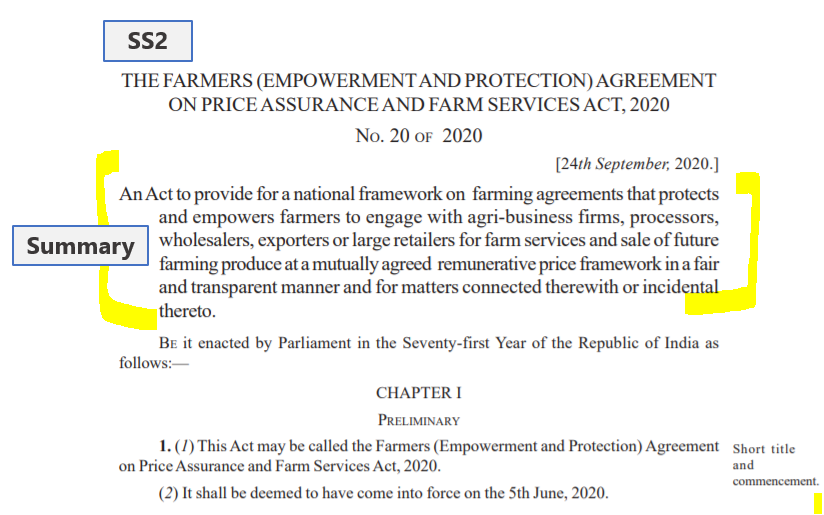 Farmers Bill Demystified Part 2 : SS2 - Summary of the Bill