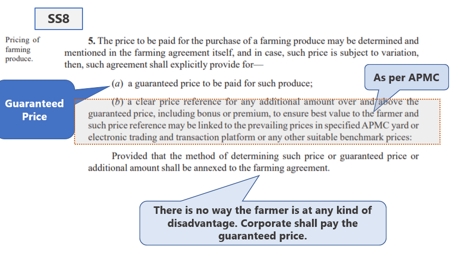 Farmers Bill Demystified Part 2 : SS8 - Section 5 of the Act
