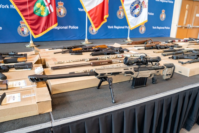 Some of the firearms seized from the mansion during Operation Cheetah