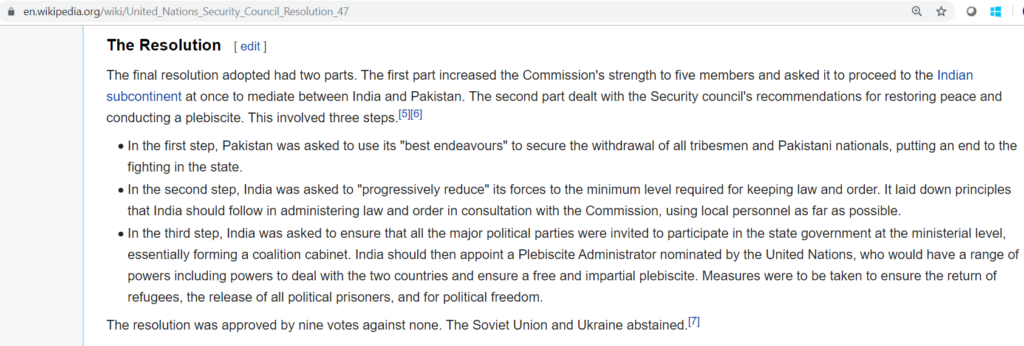 Wikipedia -It seems he did not read the UNGA resolution