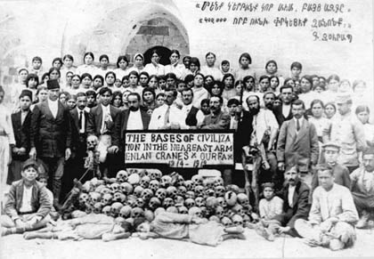 Armenian refugees at the pyramid made from the sculls of Armenian martyrs   Armenian Genocide   NewsComWorld.com