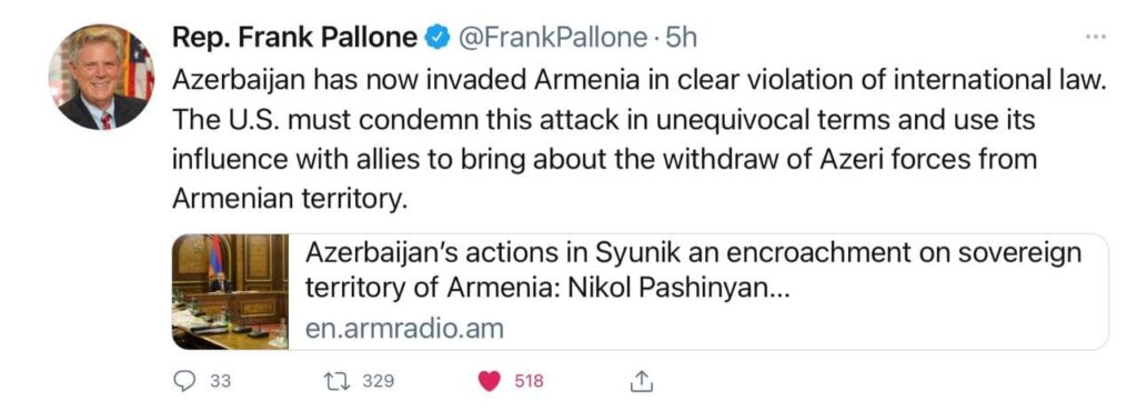 Tensions Rise As Azerbaijani Troops Intrude Into Armenian Territory - US Congressmen coming in support of Armenia